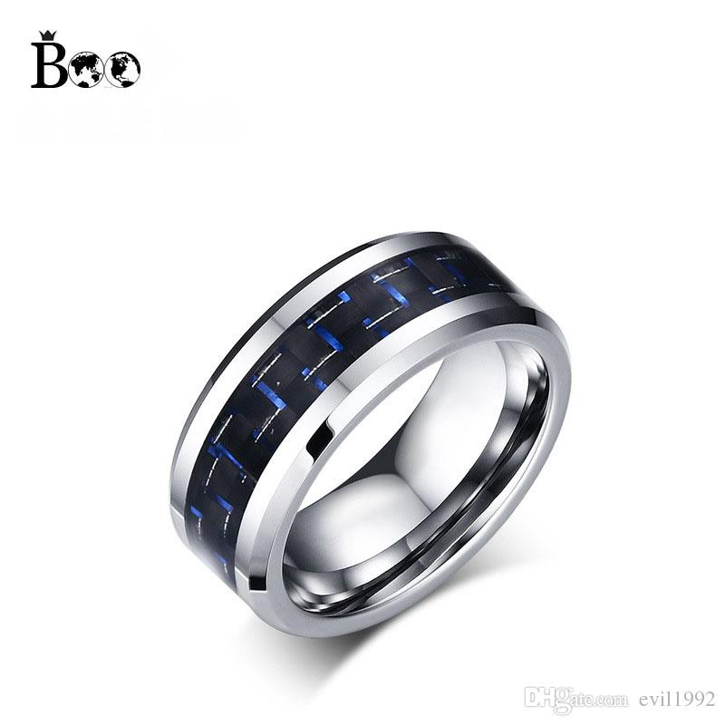 8mm Wide Tungsten Ring For Men Male Black Blue Wedding Band Jewelry High Quality Carbide Rings Unique Engagement Diamond