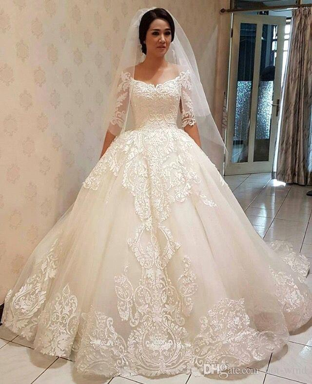 Simple Elegant Modest Lace Wedding Dress With Scallop Lace: Discount Elegant Half Long Sleeves Lace Wedding Dresses A