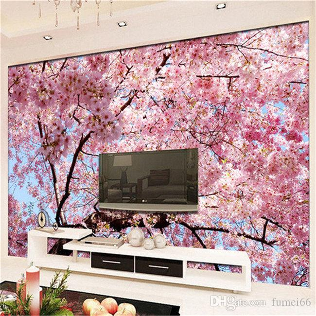 Custom Mural Wallpaper 3d Cherry Blossoms Photo Wallpaper Bedroom ...