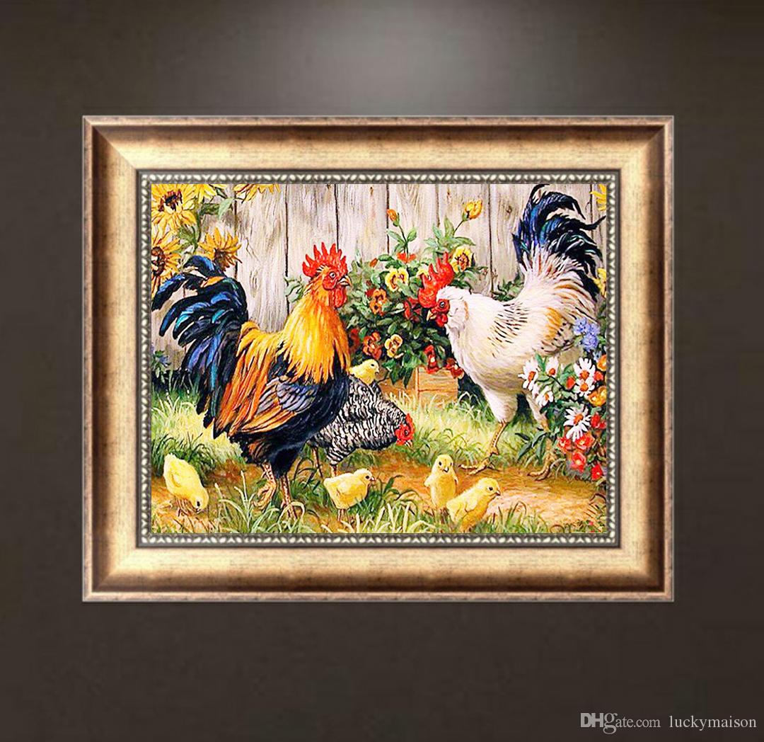 5D DIY Animal Roosters Full of Diamond Painting Cross Stitch Kits Over drilling Wall Picture Home Decoration