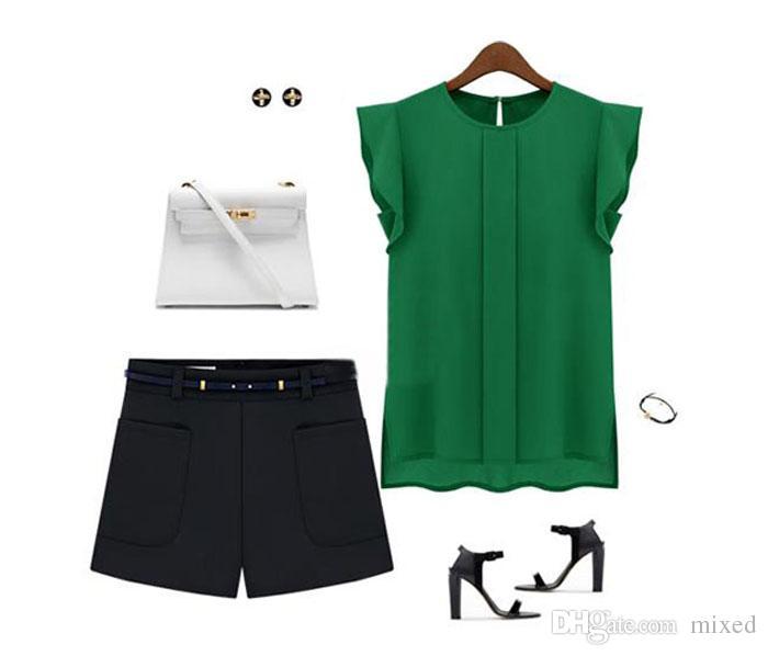 Camicette da donna Chiffon Abbigliamento Estate Lady Camicetta / Camicetta Vendita New Fashion Ruffle manica corta i Top OL Camicetta