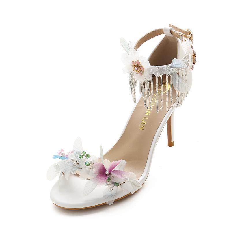Großhandel Erwachsene Sandalen Hochzeit Schuhe Spitze Blume ...