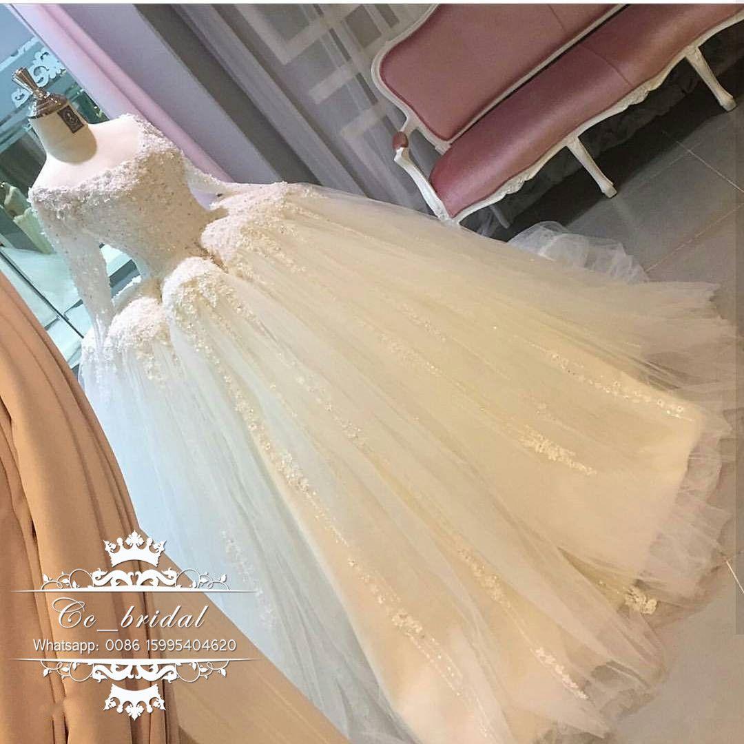 Vintage Long Sleeves Turkey Wedding Dresses 2017 Ball Gown Beading ...