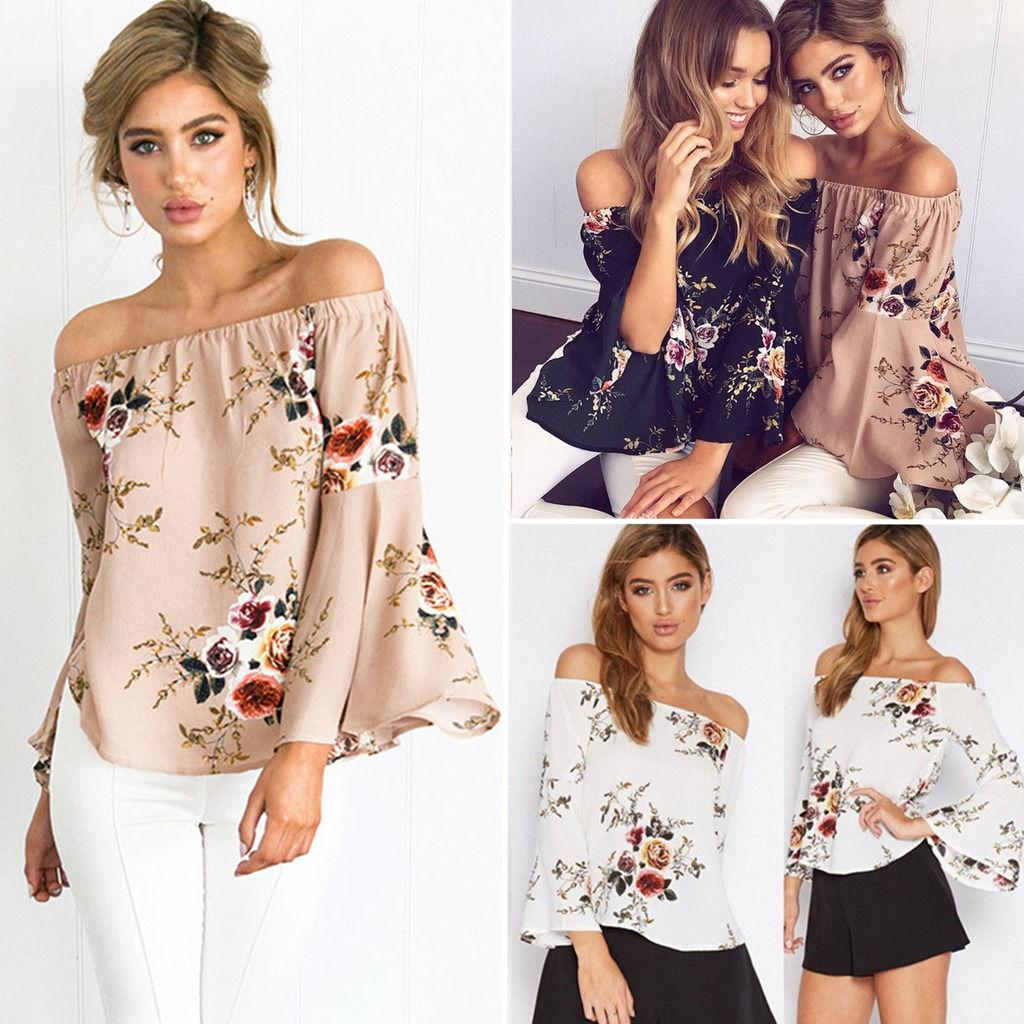 544904a7673 Womens Floral Off Shoulder Tops Beach Casual Pullover Bell Sleeve T Shirt  Blouse Boho Vintage Strapless Peasant Blouses