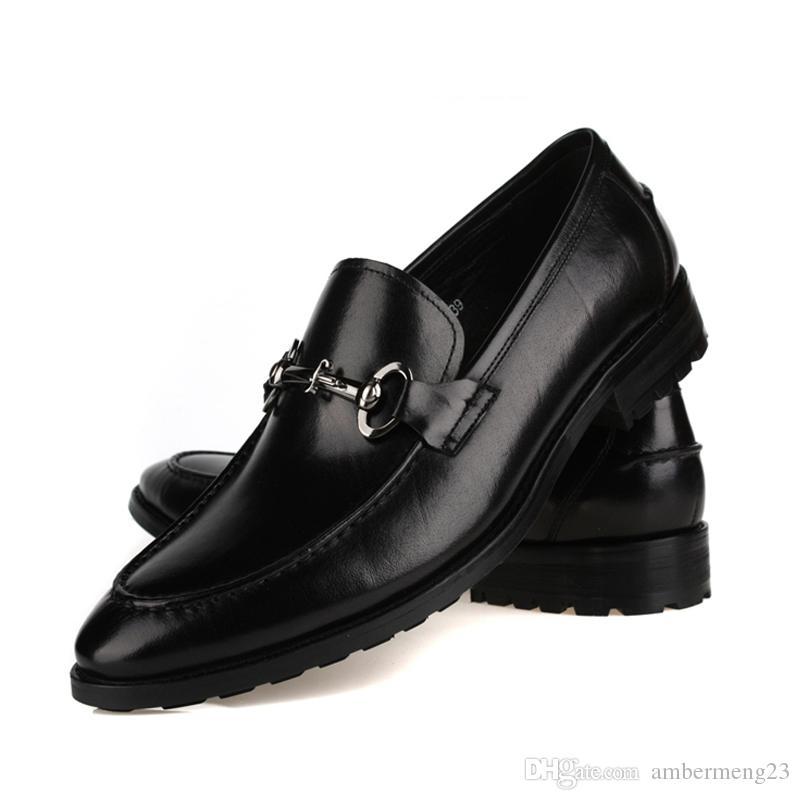 Compre Moda Para Hombre Zapatos De Cuero Genuino Cuero Marrón   Negro  Formal Oxfords Zapatos De Vestir Transpirables Para Hombre Zapatos De Boda  Eur 46 47 A ... 9f77e98e13b
