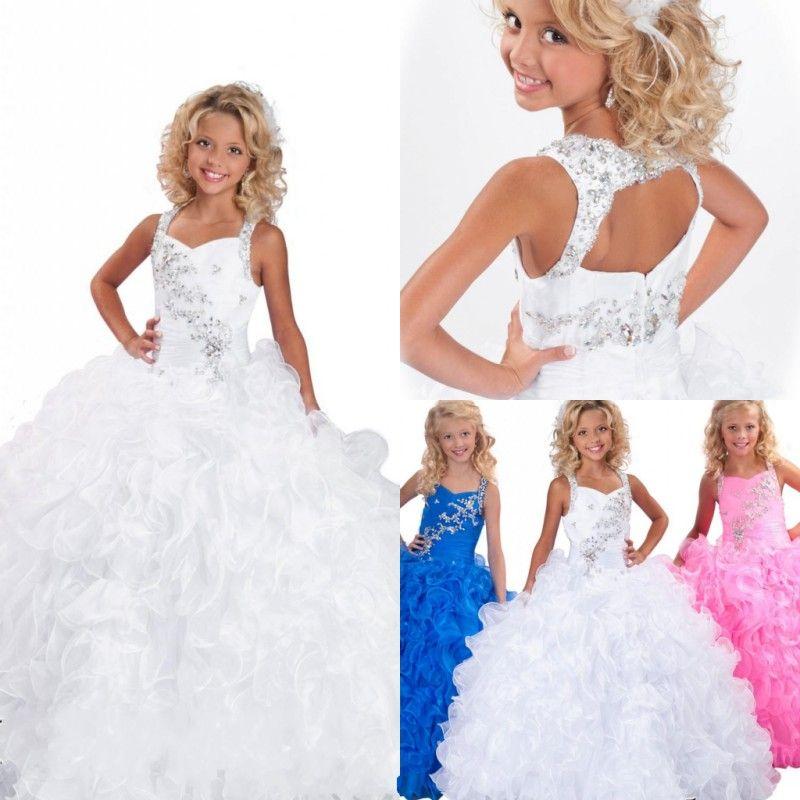 Branco vestido De Baile Cristais Frisada Meninas Pageant Vestidos Ruffles Organza Meninas Prom Party Vestidos Vestido Da Menina de Flor Para O Casamento