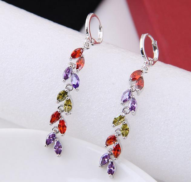 Luxury Bright Zircon Real Gold Bride Wedding Water Drop Leaves Hoop Earrings High Quality Noble Fashion Fine Jewelry Accessories For Women