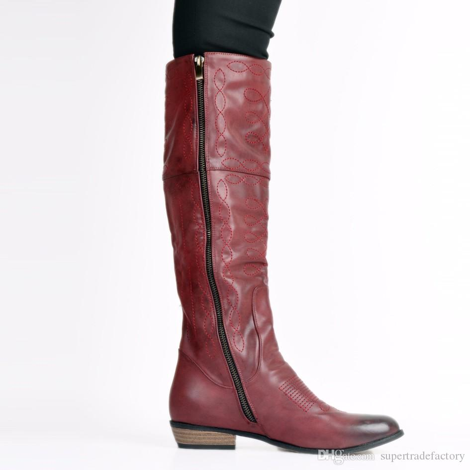 mulberry sewing knee high boots for women round toe flat heels