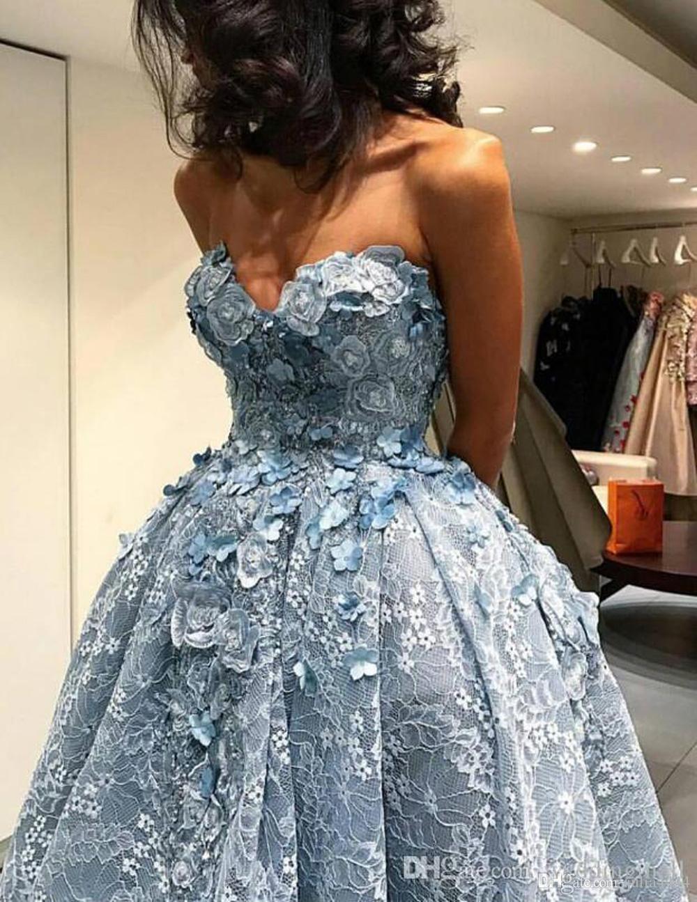 Небесно-голубой 3D кружева цветочные высокие низкие бальные платья выпускного вечера 2019 Elie Saab без бретелек с открытой спиной цветы Дубай арабский вечернее платье