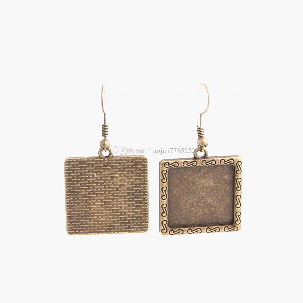 SWEET BELL Metal Alloy Zinc Fit Square 20mm Cabochon Set Pendant Drop Earing Diy Jewelry Making C0789