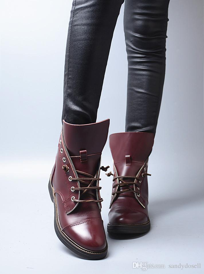 Fashion Flat With Lace Up Casual Style Chelsea Boots Slip On Round Toe High Upper Ankle Boots For Neutral Women