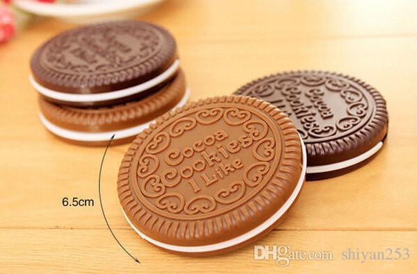 Mini poche biscuits au chocolat biscuits compact miroir avec peigne chocolat portable biscuit forme outil bureau brun