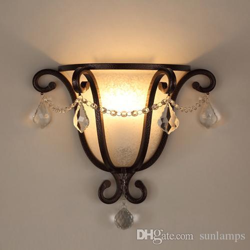 Lumière E27 Mur Rétro Escalier Fer Arte Allée Applique Chambre Verre Creative Salon Cristal Vintage Lampe Led Lampes reCxodB