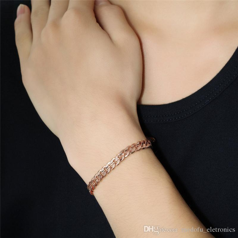 High Qulity 6mm 20cm 18K Rose Gold Plated Men Women Bracelet Chain for Party Wedding Drop Shipping