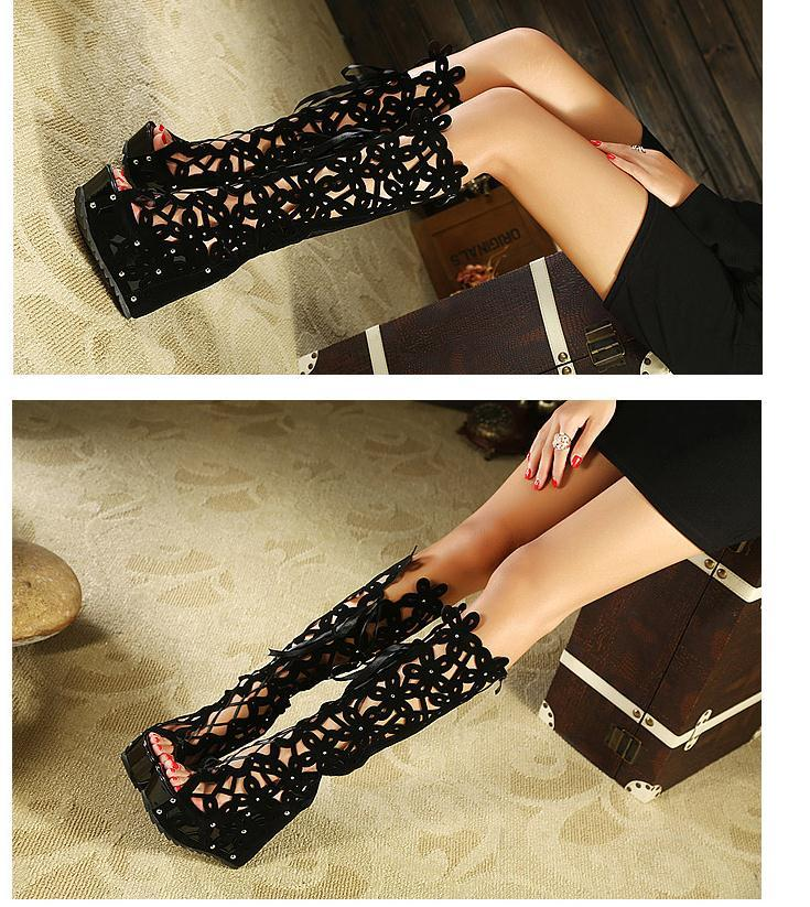Atractivos del alto talón ahueca hacia fuera Rojo Negro Rodilla Botas de mujeres, sobre la rodilla botas, botas con punta abierta