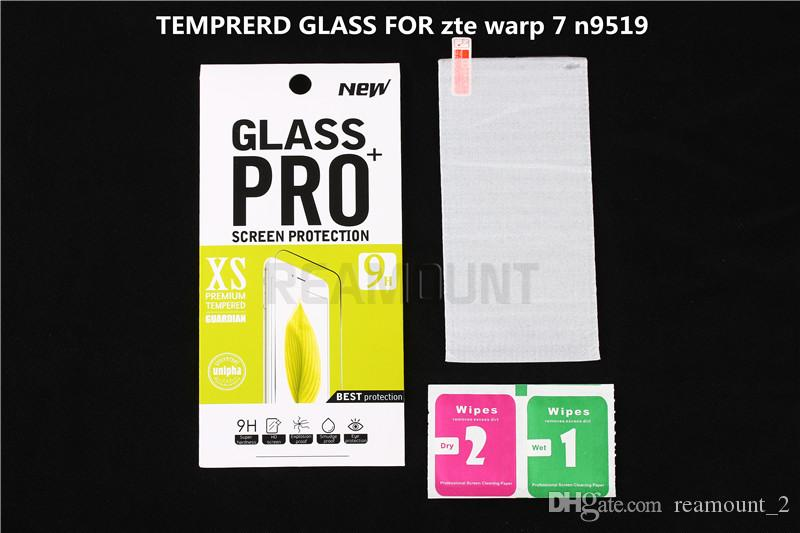 Wholesale 0.3mm for zte warp 7 n9519 Tempered Glass Screen Protector premium for zte warp 7 n9519 screen film