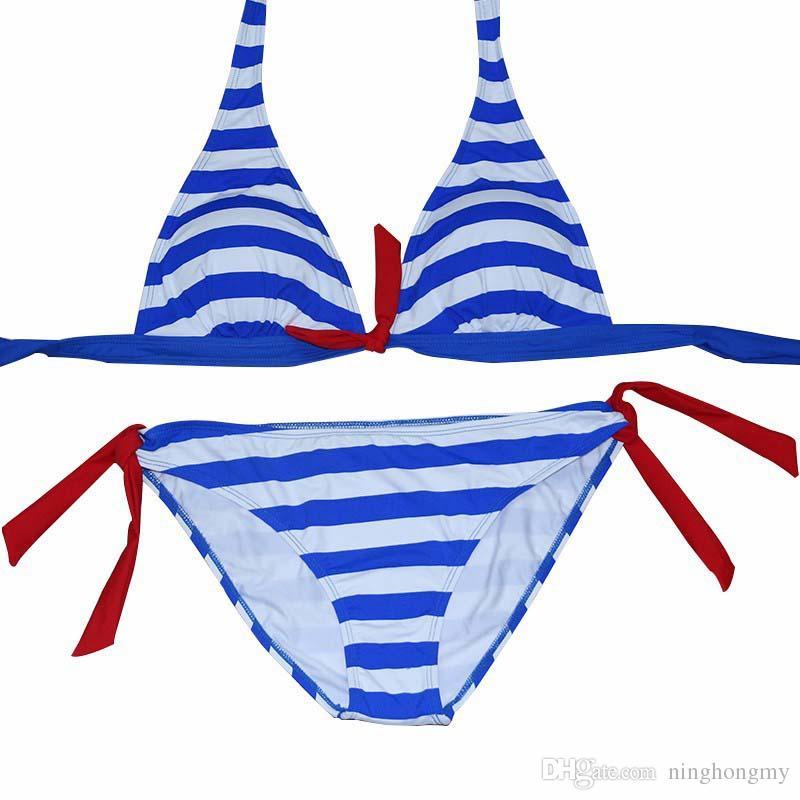 Women Sexy Push Up Bikinis Sets Swimwear Brazilian Beach Wear Bathing Suit Summer girls Close-fitting elastic stripe swimsuit girls Two-piec