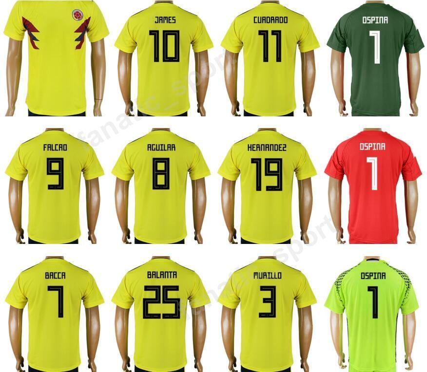 wholesale dealer c206a 78b12 2018 World Cup Colombia Jerseys Soccer 10 JAMES Football Shirt 9 FALCAO 11  CUADRAD 8 AGUILAR 7 BACCCA 8 AGUILAR 25 BALANTA Thai Quality