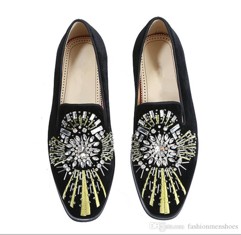 2017 fashion men black leather shoes diamond dress shoes glitter crystals loafers men flats party shoes point toe slip on oxford loafers