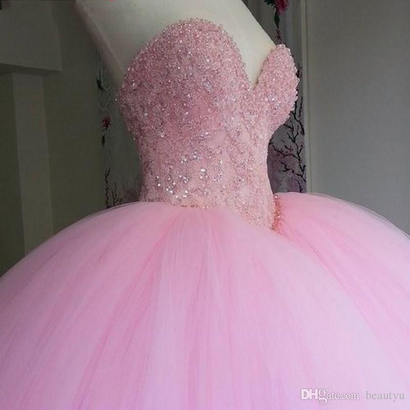 Puffy Ball Gown Pink Sweet 16 Dresses Quinceanera Dress Long Sweetheart Appliques Beads Vestidos De 15 Anos Shiny Prom Gowns For Girls 2017