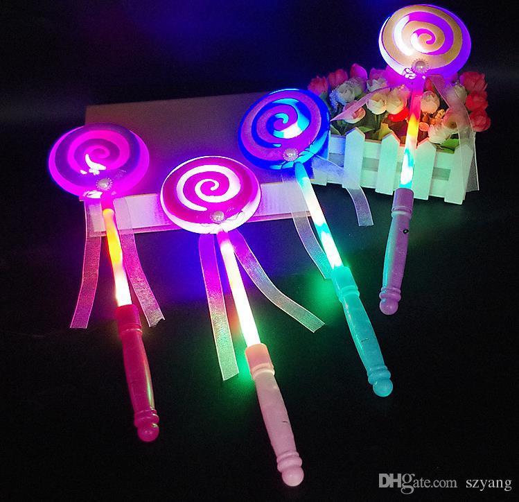 Lighting Up Flashing Lollipop Wand LED Glow Stick Halloween Christmas Hen Club Party Accessory Kids Girl Fancy Dress Rekwizyty worek Wypełniony prezent