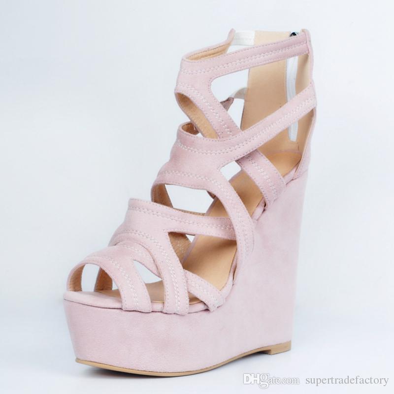 Light Pink Wedge High Heels Comfortable Ladies Sandals Women ...