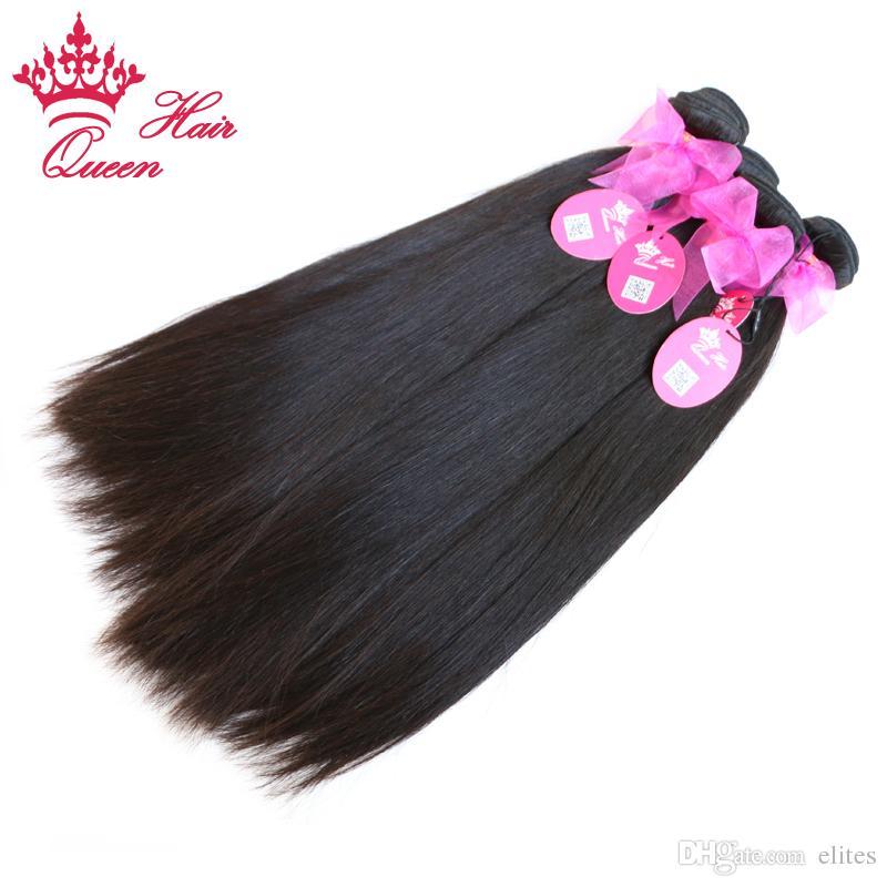 Королева волос бразильские Виргинские наращивание волос 4 шт. много натуральных прямых волос смешанная длина доступна 12