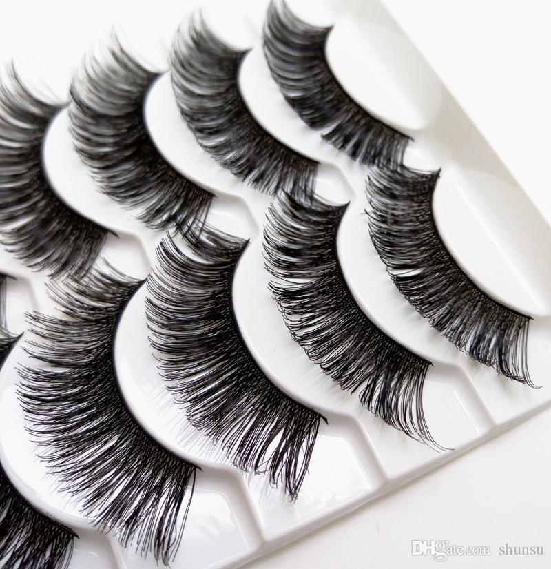 New Pure Manual Cotton Thread Stalk False Eyelashes High Quality Fiber Thick Messy Crisscross False Eyelashes Smoked Daily Makeup Eye Lashes