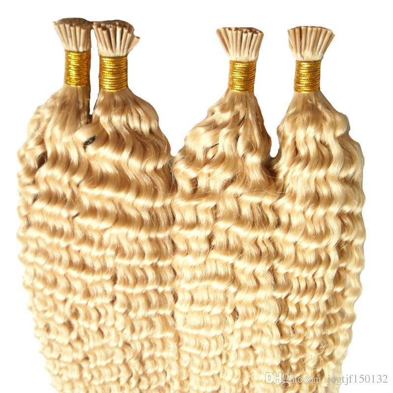 Pre gebundene Haarverlängerungen 200g / Stränge 1 Bündel Keratin-Spitze Haarverlängerung Blonde brasilianische verworrene lockige Menschenhaar I Tip Extensions