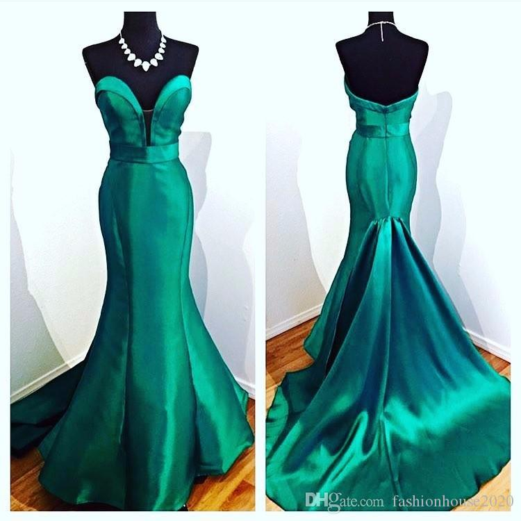2020 Sexy Long Turquoise Green Mermaid Evening Dresses Sweetheart Satin Floor Length Formal Evening Gowns Red Capet Party Dress Real Photos