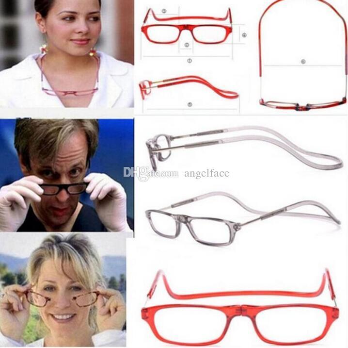 Moda Imanes plegables lupas de lectura magnética Frente Conectar anteojos unisex colgar lector plegable Lentes de lectura magnética