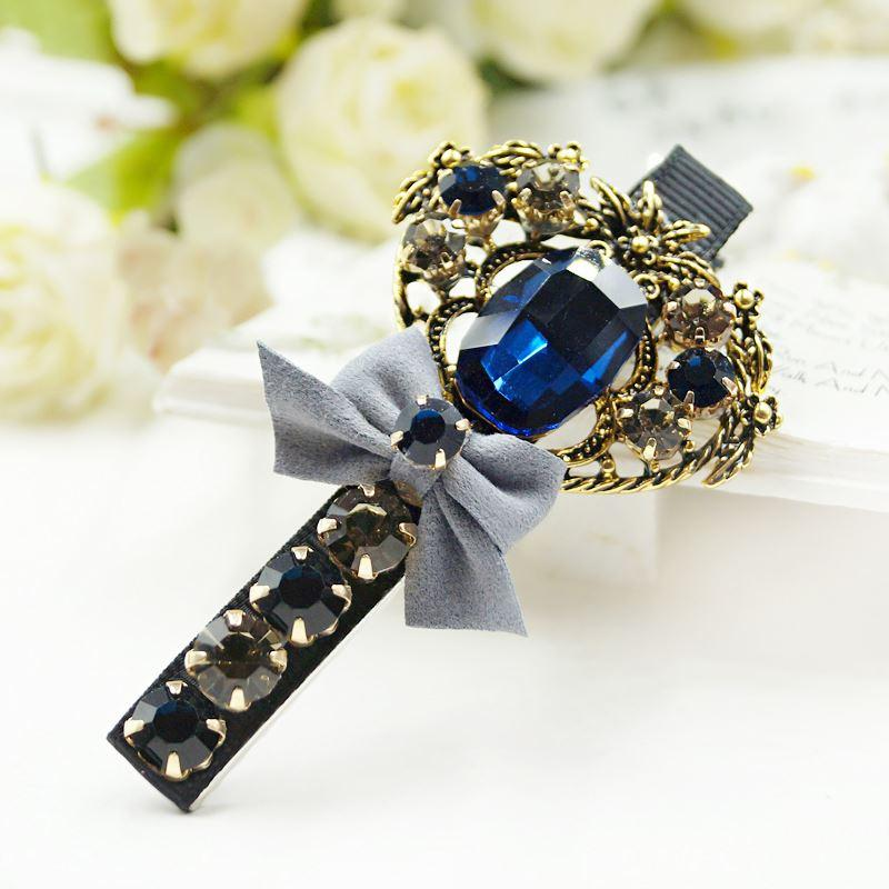 Woman headdress hair Colorful plaid jewelry beautiful hair Korea head ornaments imitation diamond hairpin cross clip A0429