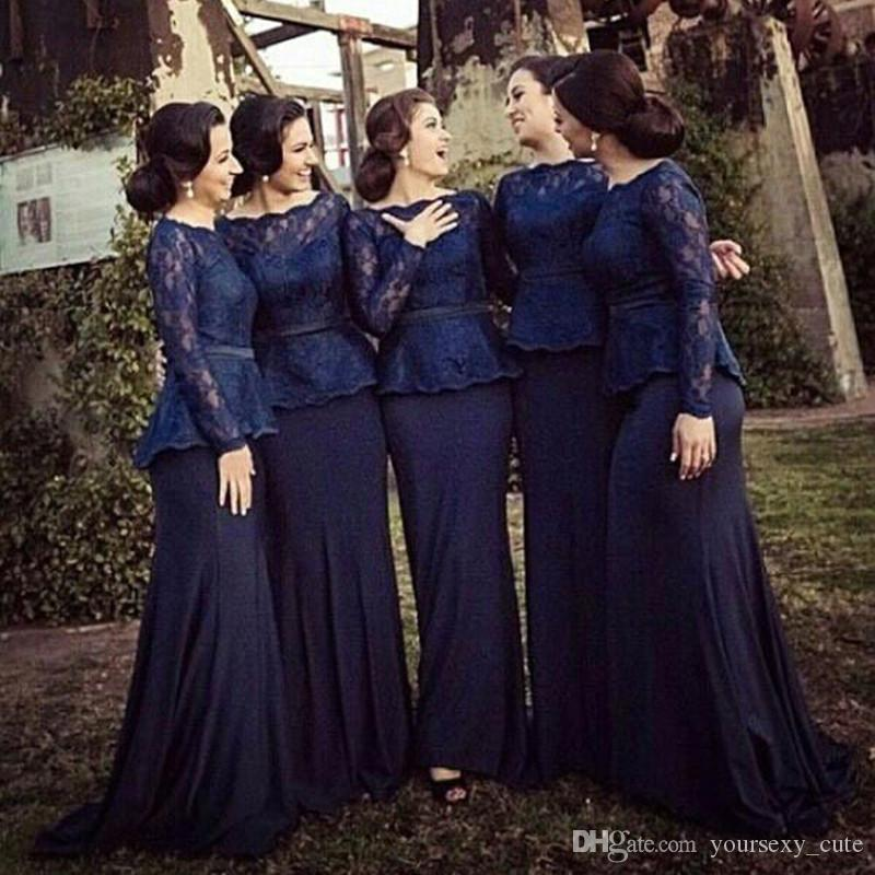 Dark Navy Mermaid Bridesmaid Dresses Bateau Neck Long