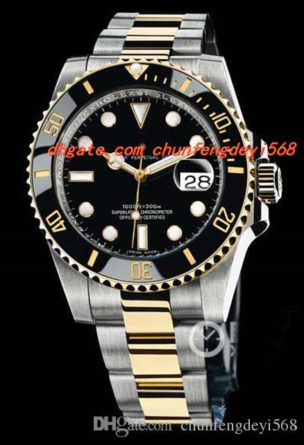패션 럭셔리 손목 시계 18k 옐로우 골드 스테인레스 스틸 세라믹 116613 블랙 40mm 자동 남성 시계 남자 시계 최고 품질