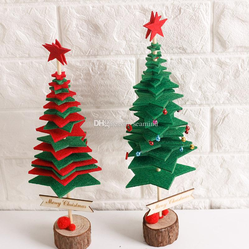 christmas trees diy handmade non woven fabrics small tree placed in desktop mini christmas decoration for home xmas outside xmas decorations sale paper