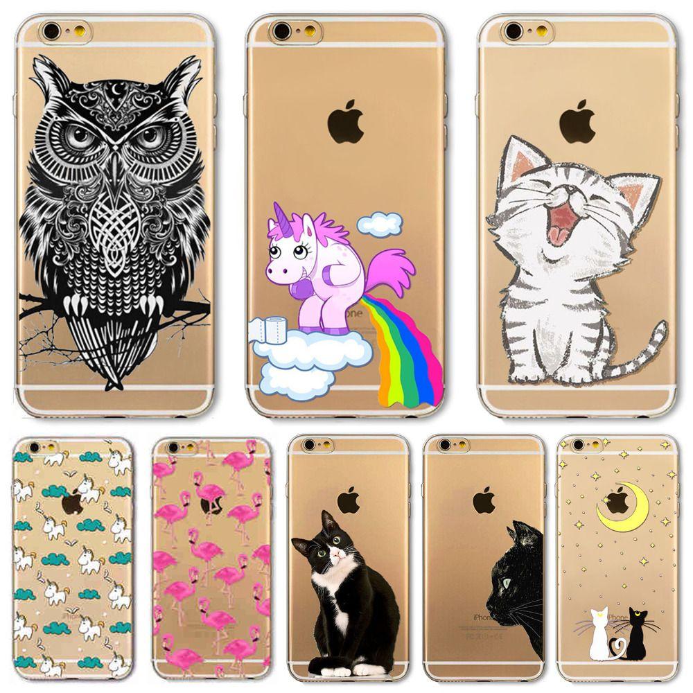 8711d6beb25 Fundas Smartphone Para Apple IPhone 6 6s Plus 5 5S SE 6Plus Funda Suave TPU  Silicona Transparente Cubierta Delgada Gato Negro Búho Conejo Estuche  Animal ...