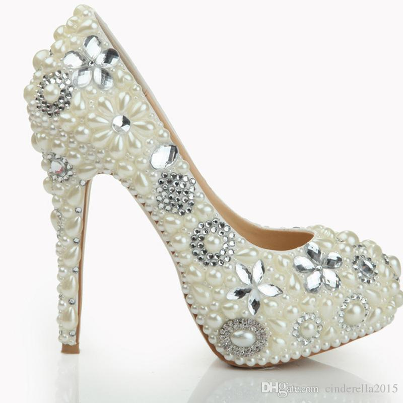 2017 Pearl Shoes Bridal Wedding Party Shoes Nightclub Stiletto Heel Rhinestone Pearls High Heel Shoes Bridal Pumps Hand-made