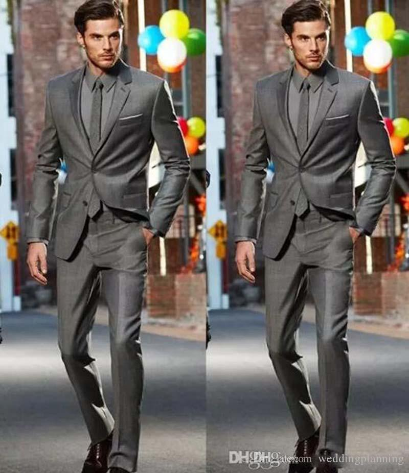 Dark Grey Slim Fit Side Slit Two Buttons Notch Lapel Groom Tuxedos Men Suits Man Business Suit Jacket+Pants+Tie Formal Dinner Dresses