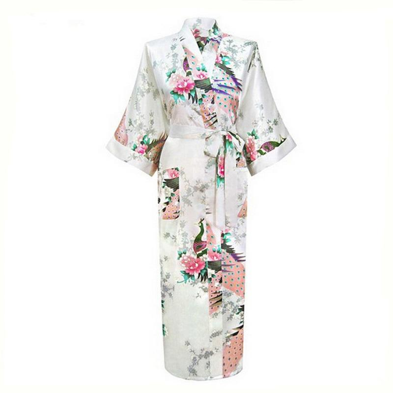 2019 Wholesale White Chinese Female Sexy V Neck Robes Rayon Silk Sleepwear  Long Printed Nightgown Wedding Bride Robe Plus Size S To XXXL NR026 From  Berniee ec4b75730