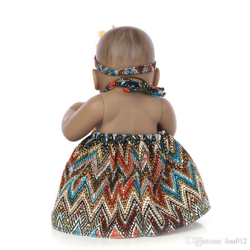 10 pouce Afro-Américain Bébé Poupée Fille noire poupée Plein Corps En Silicone Bebe Reborn Bébé Poupées enfants cadeaux enfants jouets jeu maison jouets