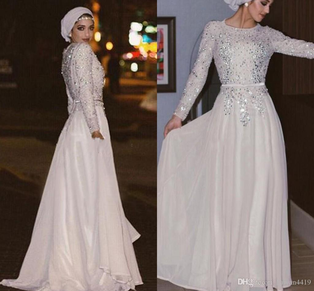 2017 New Arabic Muslim Prom Dresses Jewel Neck Long Sleeves Lace Appliques  Crystal Beaded Chiffon Formal Plus Size Party Dress Evening Gowns Prom  Dresses ... 2a57e274b898