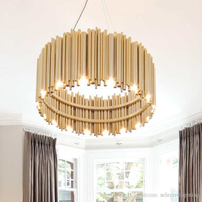 Post Modern Gold Pendant Lights Living Room Restaurant Study Led G9 Bulb  Pipe Aluminum Chandelier Art Personality Design Pendant Lamp Lighting Home  Ceiling ...