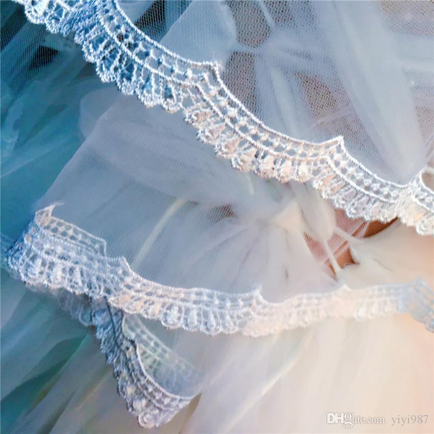 immagini Veils reale all'ingrosso Viola Bianco Veils bordo Ivory nuziale buona Tulle con merletto di trasporto libero veloce fuori