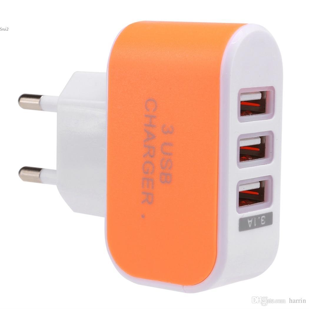 Adattatore caricabatterie CA da viaggio universale da parete a 3 porte USB telefono Accessori spina EU / US 2963