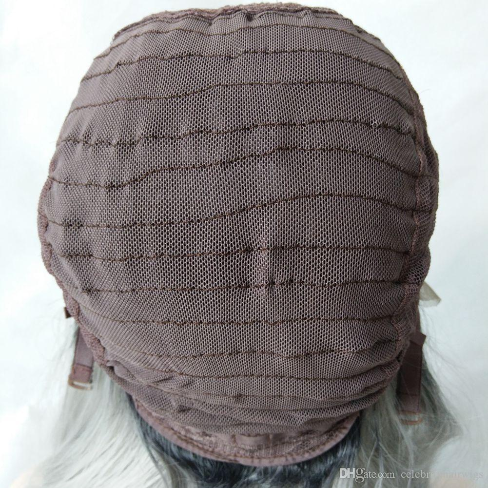 MHAZEL partie libre naturel droite blanc ombre violet résistant à la chaleur fiber synthétique sans colle avant perruque stock