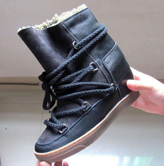 Heißer Verkauf Keil Wildleder Schnürschuh Winter Warm Schnee Stiefel Schuhe Fell Frau Ankle Booties Höhe Zunehmende Runde Kappe Freizeitschuhe