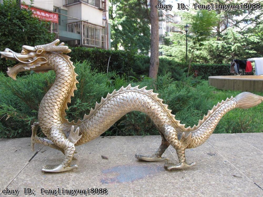 Chinois Folk Exquis Blanc Cuivre Argent Feng Shui Chaceux Fly Dragon  Kunststatue Jardin Decoration En Laiton Bronze