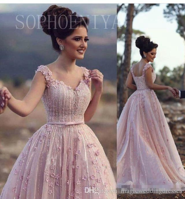 Elie Saab Blush Pink Women Formal Evening Dresses Ball Gown Custom Sweetheart 3D Flowers Beading Sequins Plus Size Pageant Gowns Prom Dress