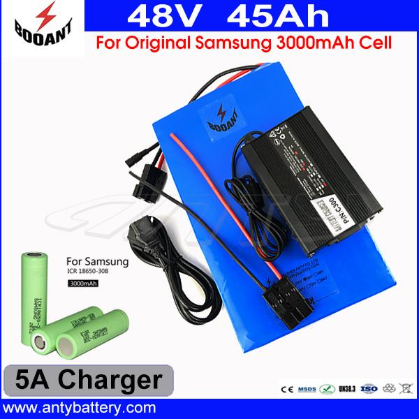 For Original 18650 Cell Electric Bicycle Battery 48V 45AH Lithium Battery 48V For 8Fun Motor 2500W With 70A BMS 5A Charger