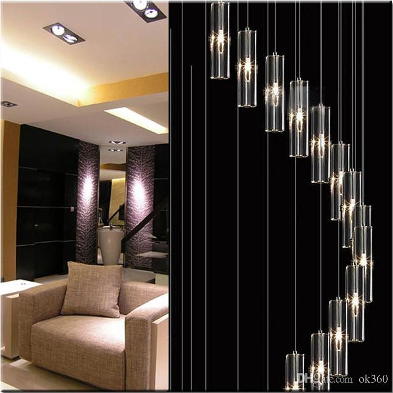 Modern Minimalist Fashion Pendant Light K9 Crystal Block S Shaped Transparent Duplex Staircase Chandelier Stair Lamp Lamps For Hotel Track